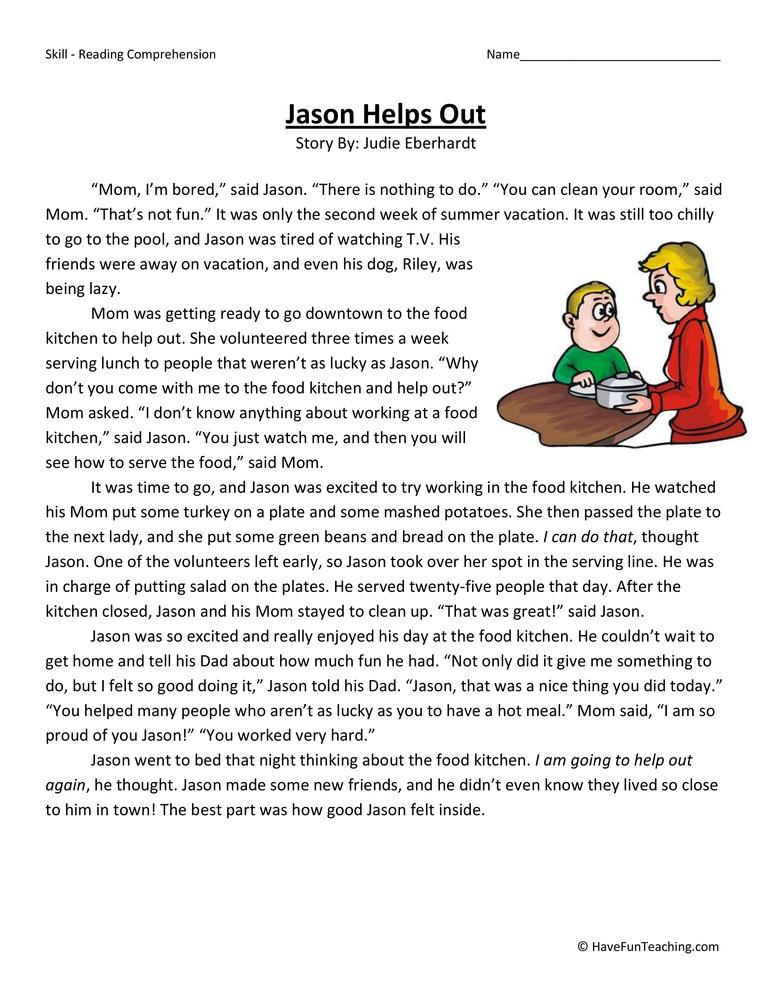 Worksheets For 3rd Grade Teacher : Jason helps out reading comprehension worksheet