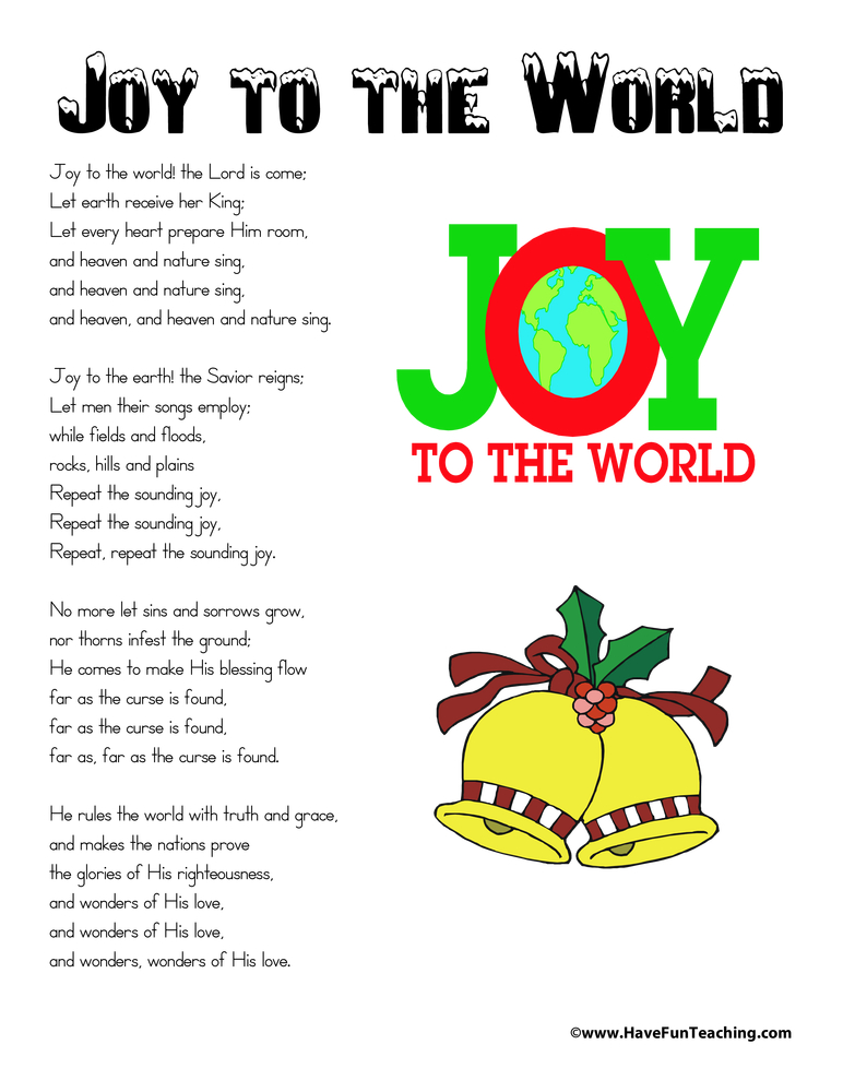 It is a picture of Adorable Joy to the World Lyrics Printable