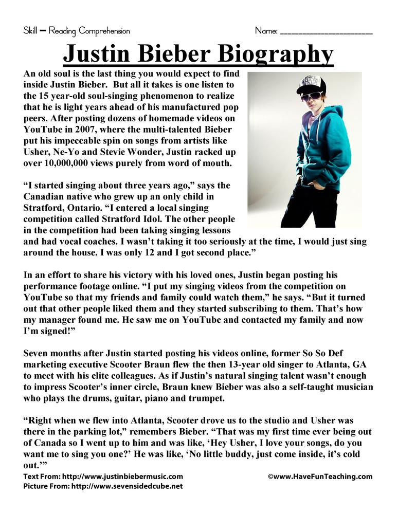 Justin Bieber Biography Reading Prehension Worksheet. Justin Bieber Biography Reading Prehension Worksheet. Worksheet. Biography Worksheet For 4th Grade At Clickcart.co