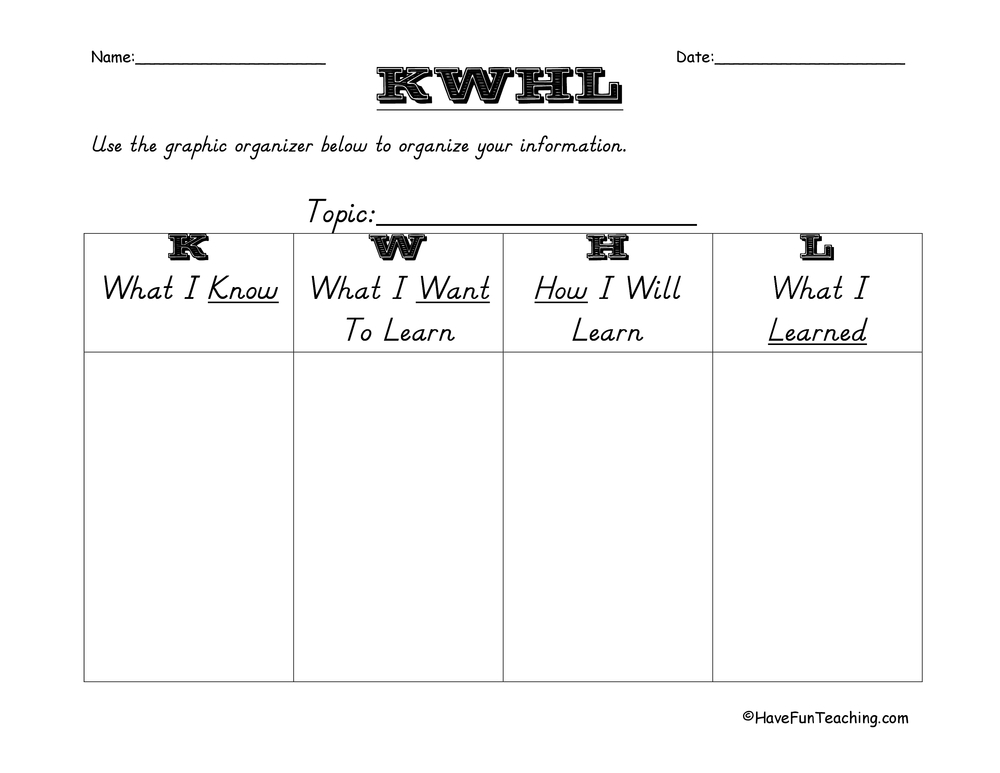 Worksheets Kwl Worksheet kwl and kwhl worksheets have fun teaching graphic organizer