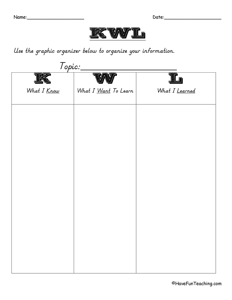 KWL and KWHL Worksheets - Have Fun Teaching