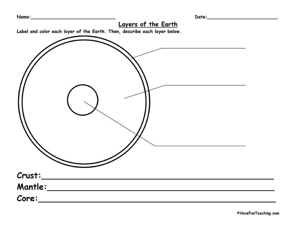 layers of the earth worksheet have fun teaching. Black Bedroom Furniture Sets. Home Design Ideas
