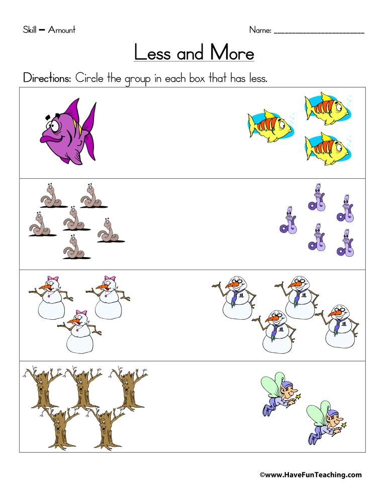 math worksheet : less and more worksheet  have fun teaching : More And Less Worksheets Kindergarten