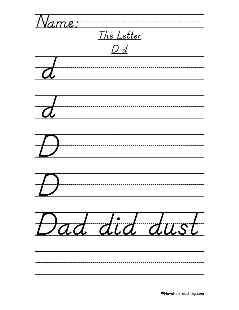 Printables D Nealian Handwriting Practice Worksheets Ronleyba – Amazing Worksheet Maker