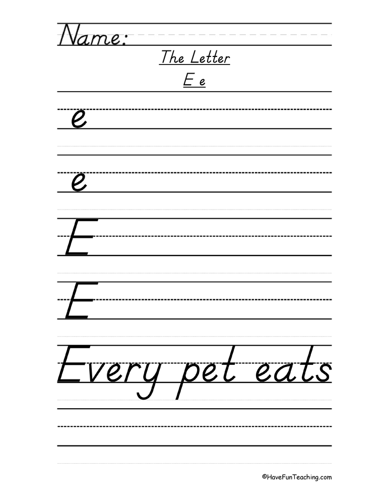 Letter E D'Nealian Script Handwriting Practice Worksheet