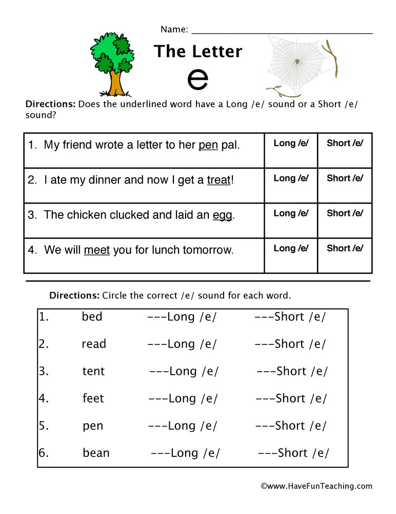 Short Vowel E and Long Vowel E Worksheet – Short E Worksheet