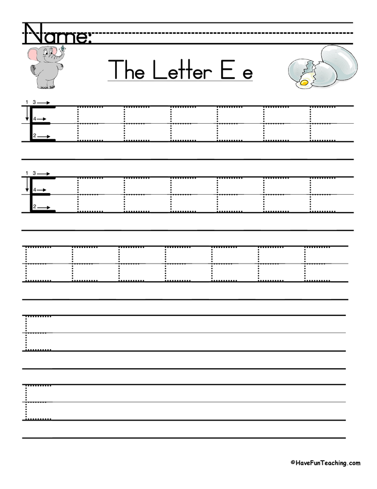 Free Worksheets shape tracing worksheets : Letter E Handwriting Practice : Have Fun Teaching