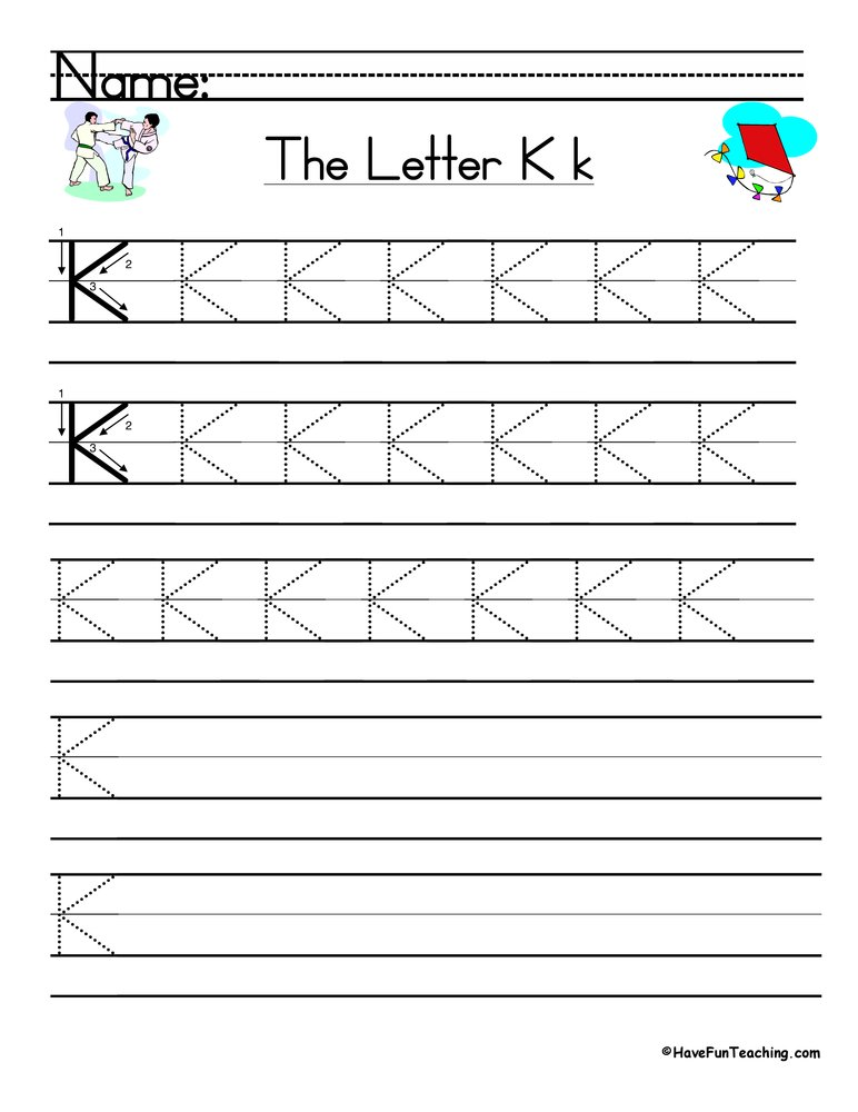 Letter K Handwriting Practice Worksheet