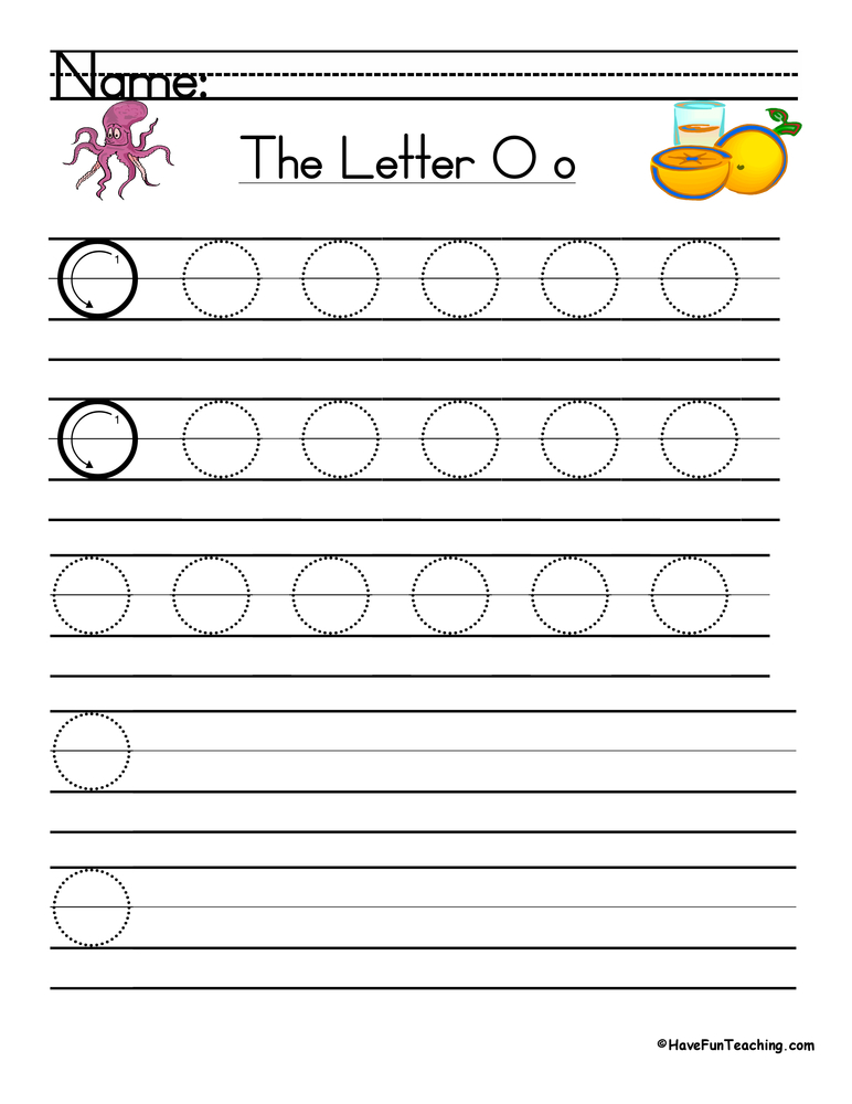 Letter O Handwriting Practice - Have Fun Teaching