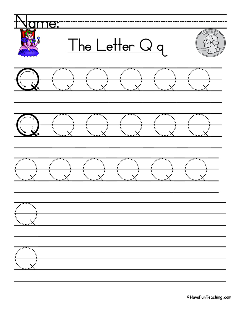 Letter Q Handwriting Practice