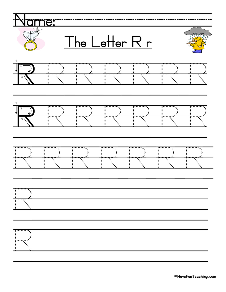 Letter R Handwriting Practice Worksheet