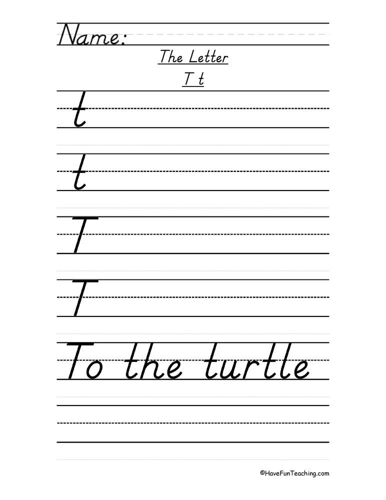 Letter T Handwriting Practice D 39 Nealian Have Fun Teaching