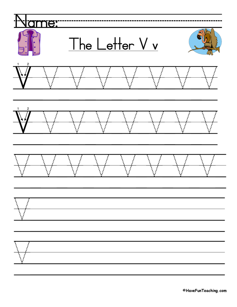 Letter V Handwriting Practice on Lowercase Alphabet Writing Practice V