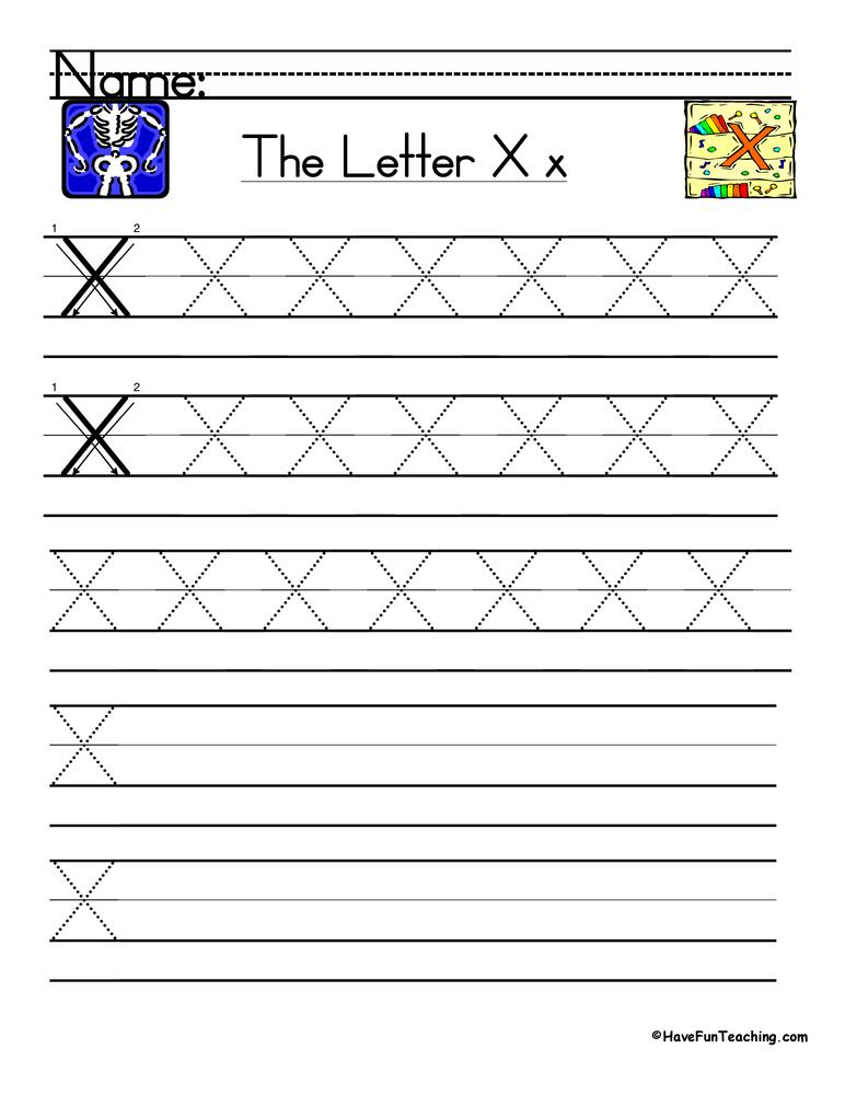 Letter X Handwriting Practice Worksheet
