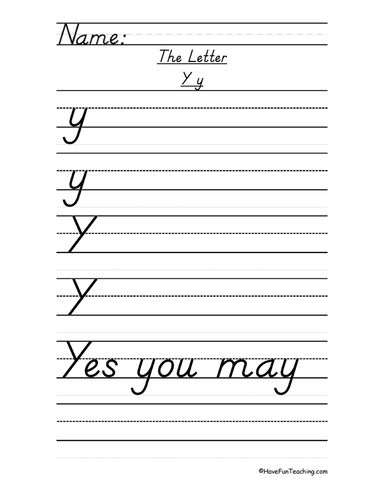 Letter Y Handwriting Worksheet