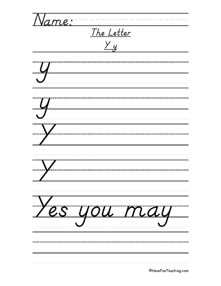 Letter Y Handwriting Practice - Du0026#39;Nealian - Have Fun Teaching