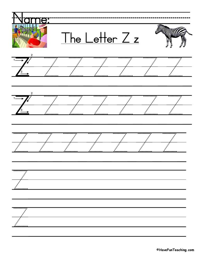 Letter Z Handwriting Practice Worksheet