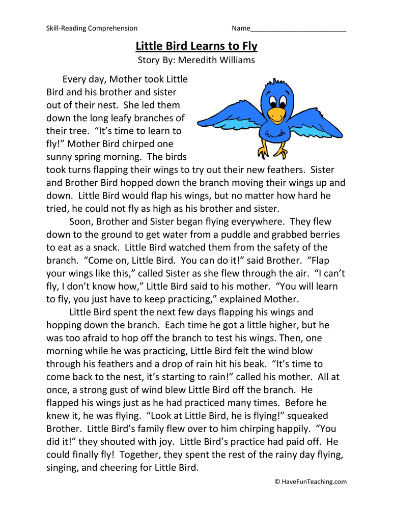 Little Bird Learns To Fly Reading Comprehension Worksheet