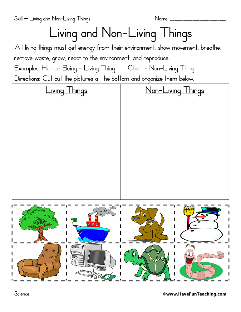 Living and Non-Living Things Worksheets - Page 5 of 5 - Have Fun ...