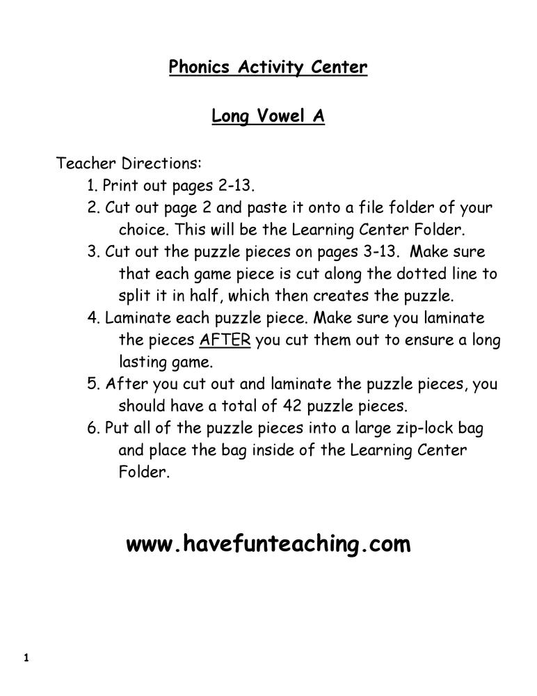 Long Vowel A Puzzle