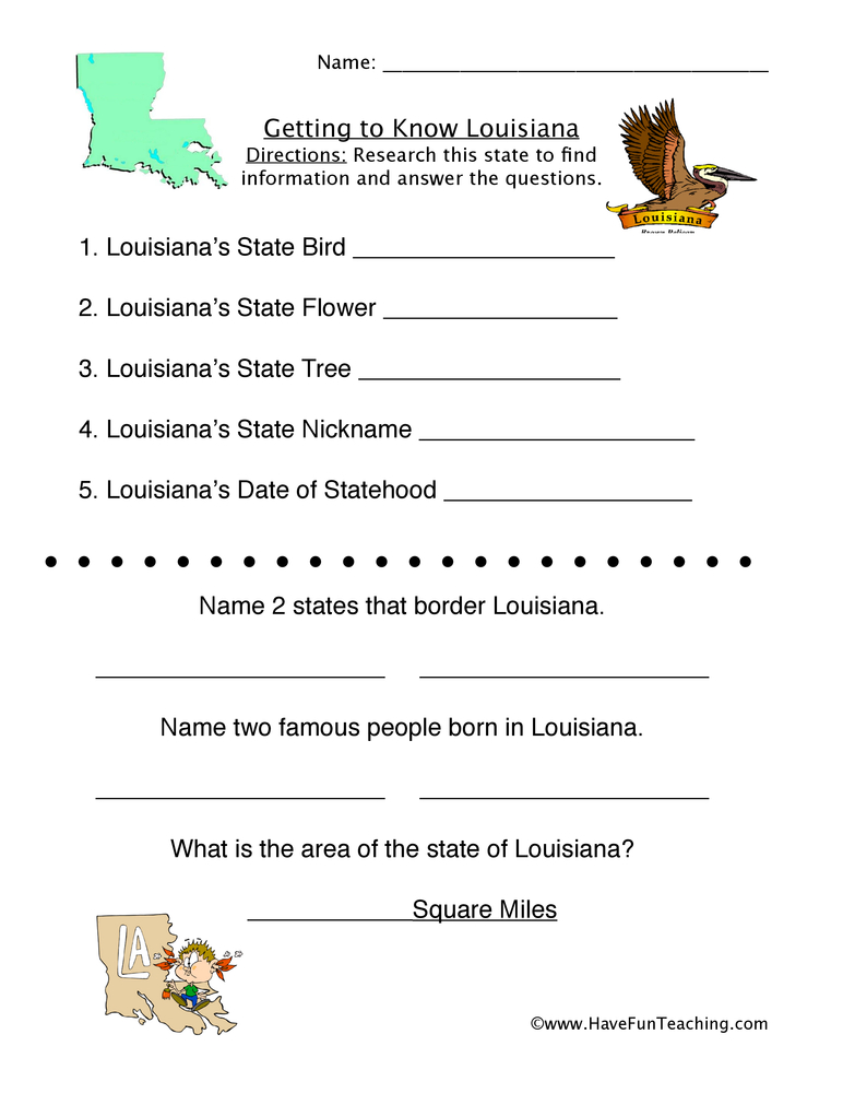 Louisiana Worksheets - Have Fun Teaching