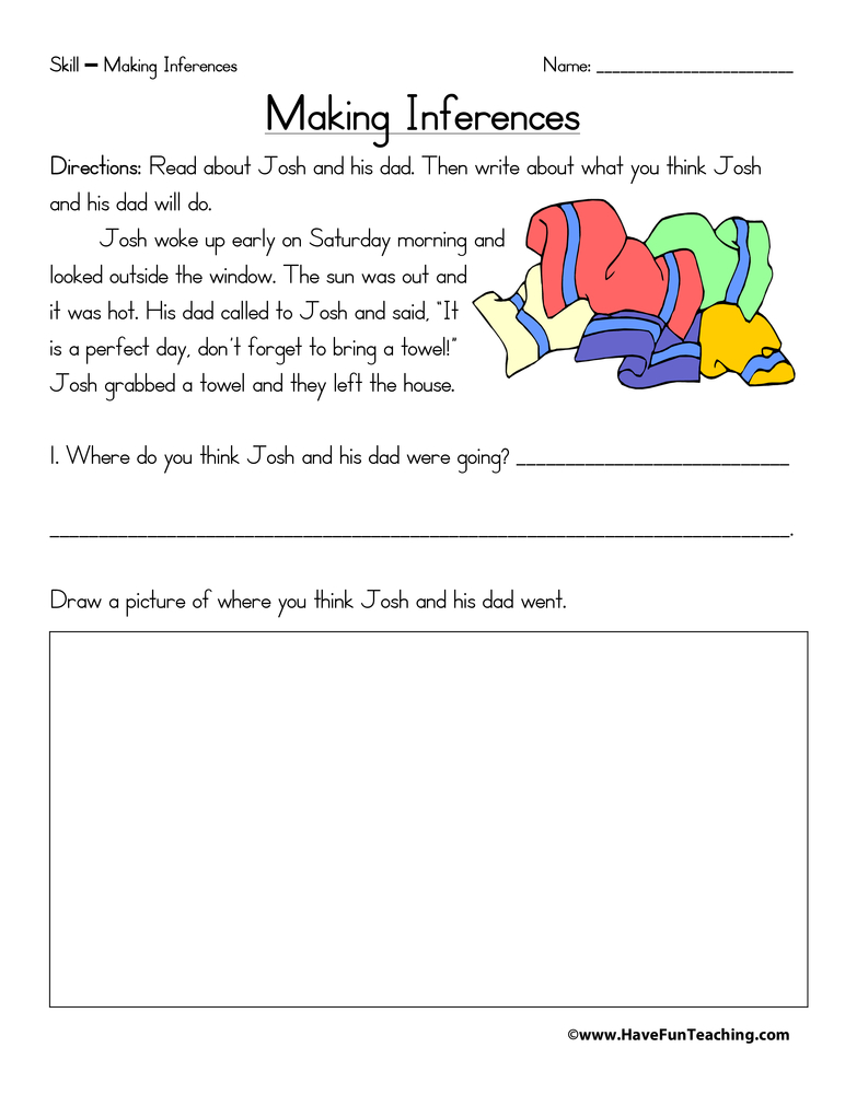 First Grade Making Inferences Worksheets. First. Best Free Printable Worksheets