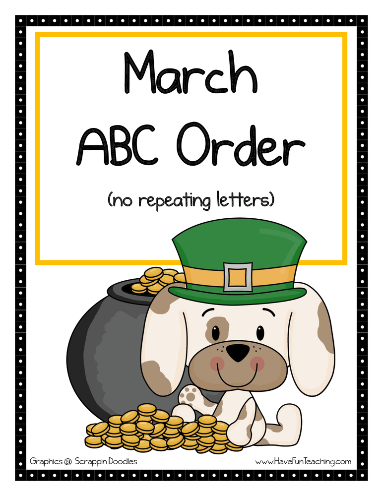 St. Patrick's Day Alphabetical Order Activity - Easy