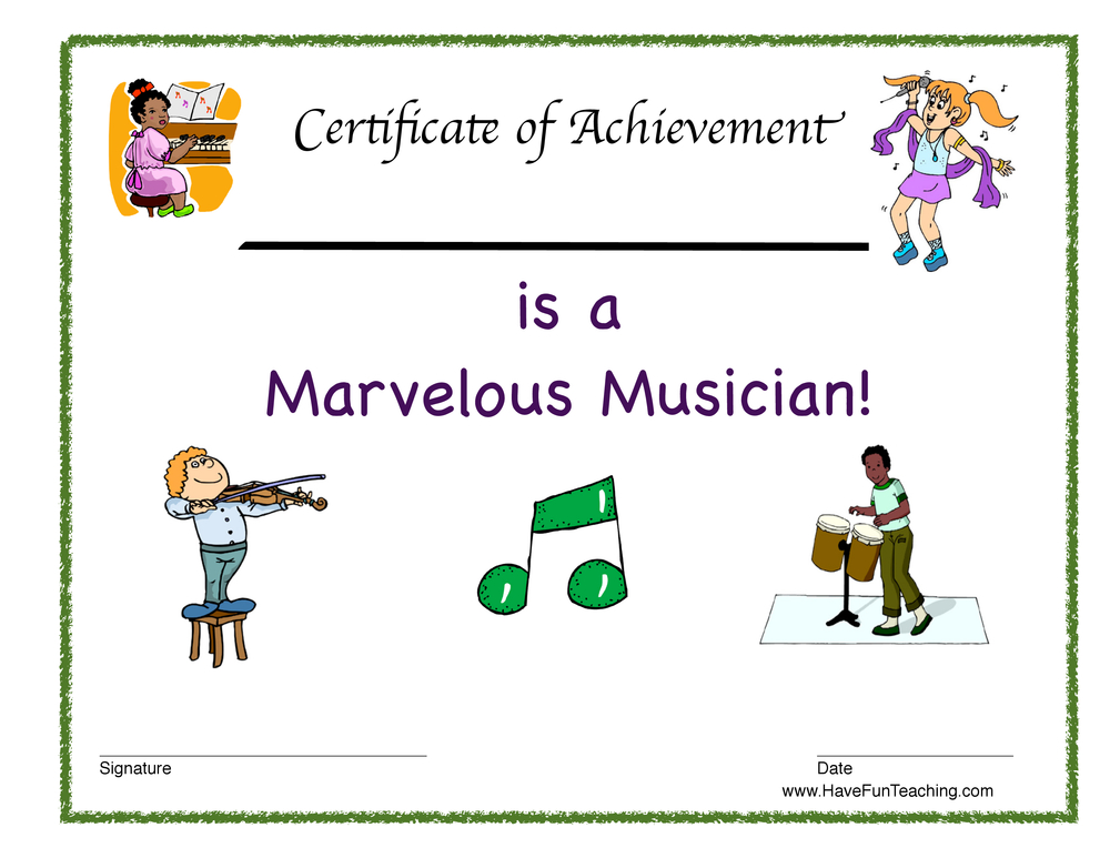 Reward Certificate - Marvelous Musician