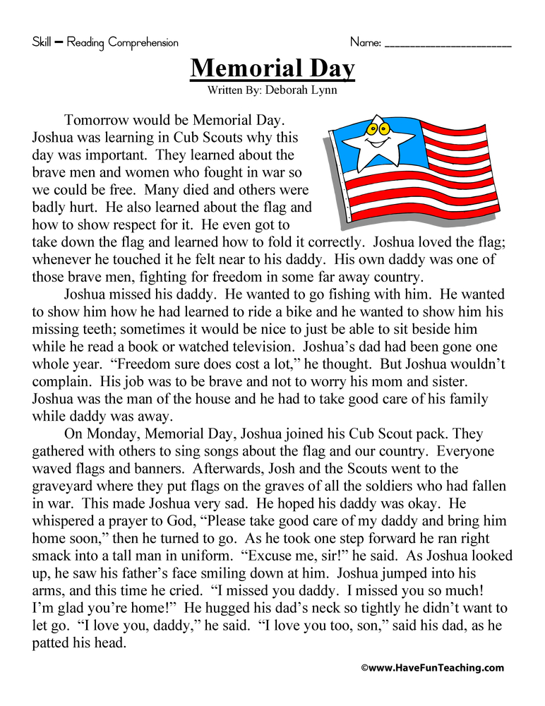 Second Grade Reading Comprehension Worksheet - Memorial Day - Have Fun ...