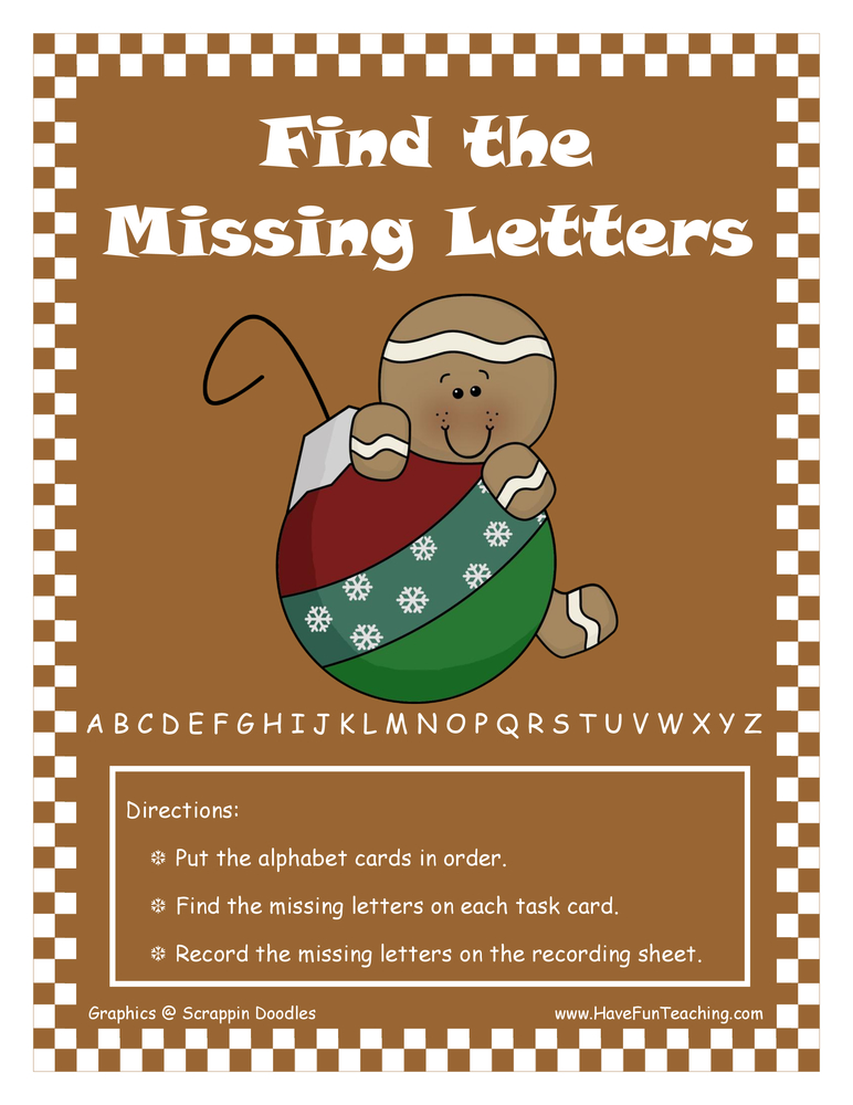 Find the Missing Letters Sequencing Activity