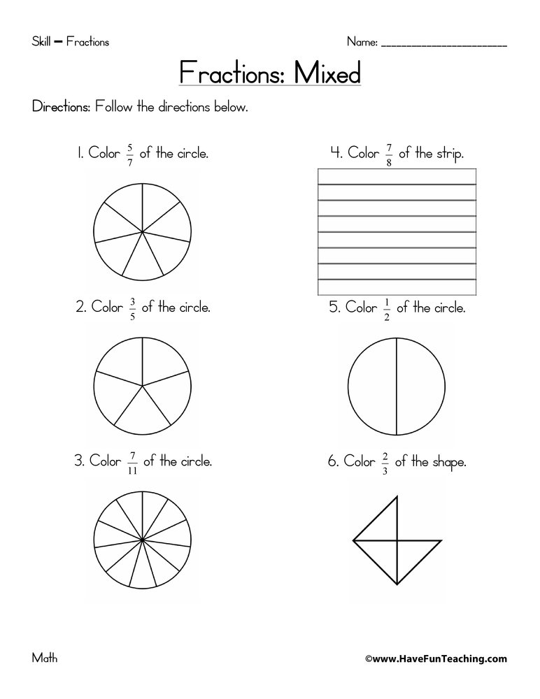 math worksheet : fractions worksheets  page 3 of 3  have fun teaching : Fractions Third Grade Worksheets
