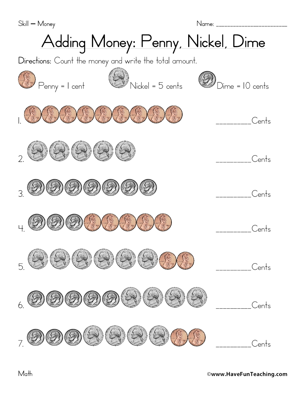 Adding Money Worksheet - Penny, Nickel, Dime - Have Fun Teaching