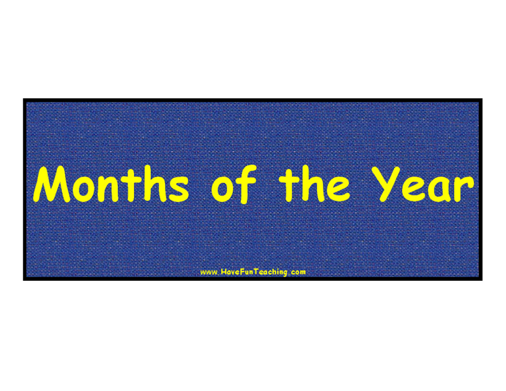 Months of the Year Classroom Signs
