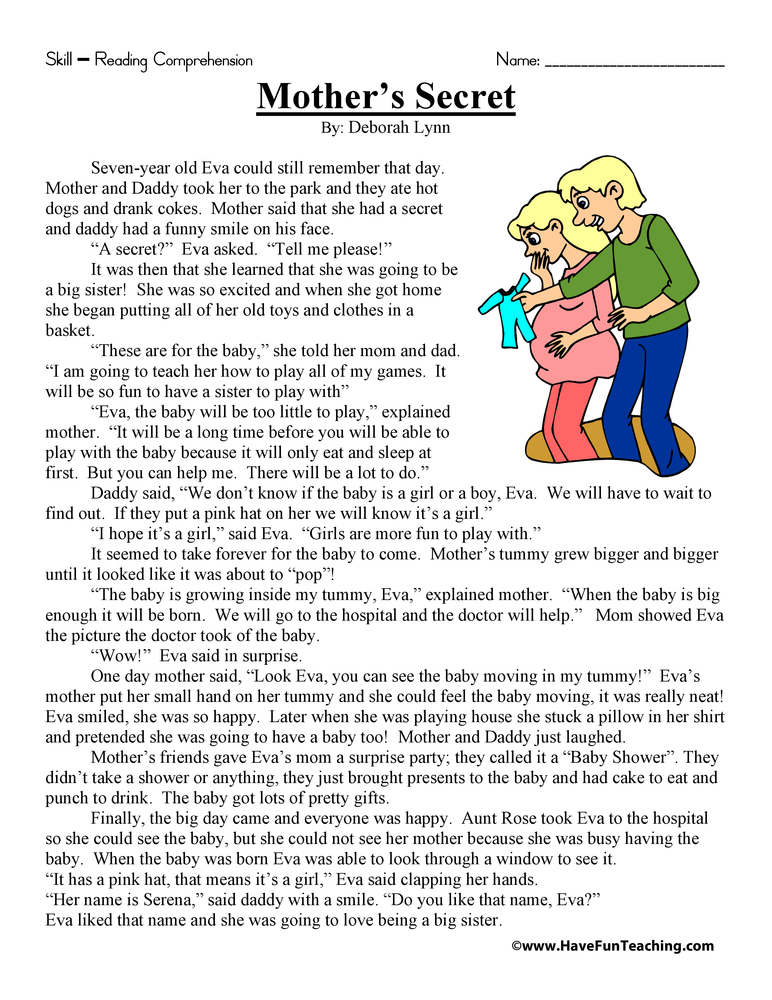 Mother S Secret Reading Prehension Worksheet