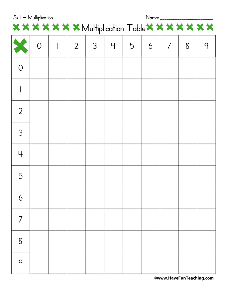 Blank Multiplication Table Have Fun Teaching