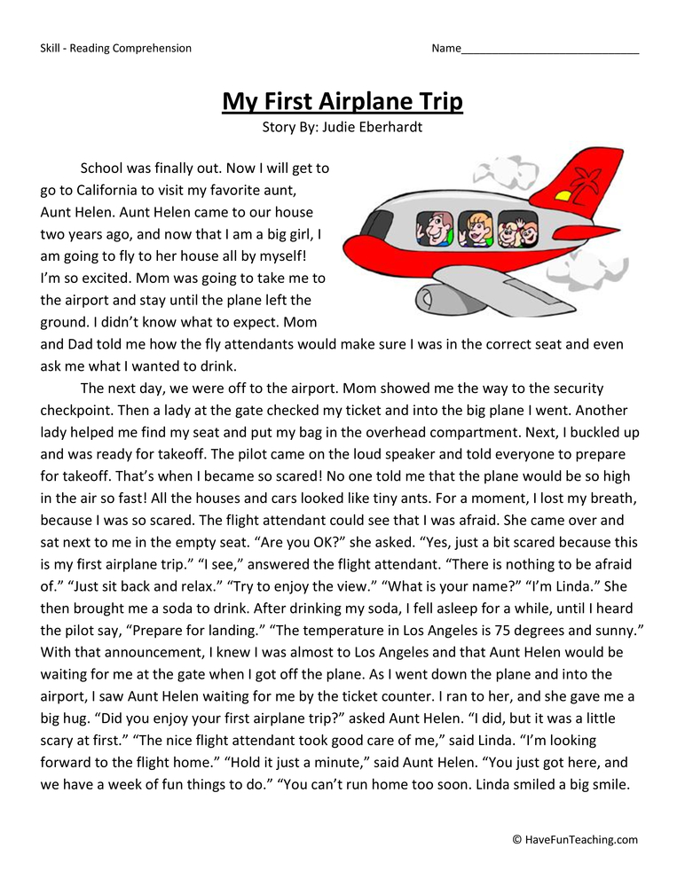 My First Airplane Trip Reading Comprehension Worksheet