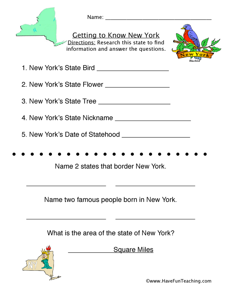 New York Worksheets on Connecticut Kindergarten Worksheet