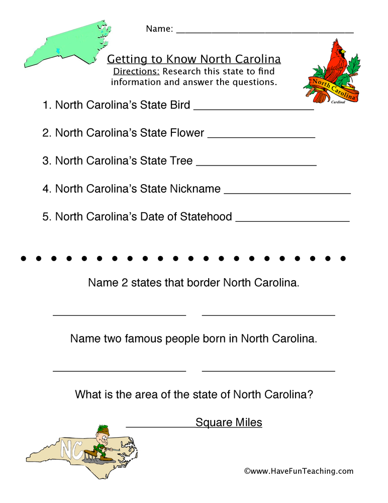 Printable Worksheets social studies worksheets grade 3 : North Carolina Worksheets | Have Fun Teaching