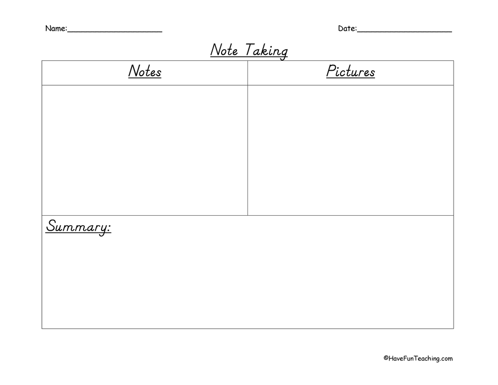 Note Taking Worksheets – Note Taking Worksheets