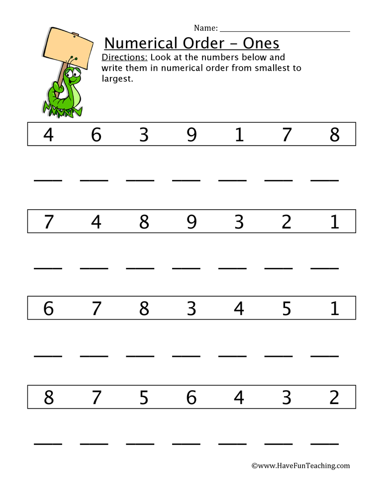 Ordering Numbers Worksheets - Have Fun Teaching