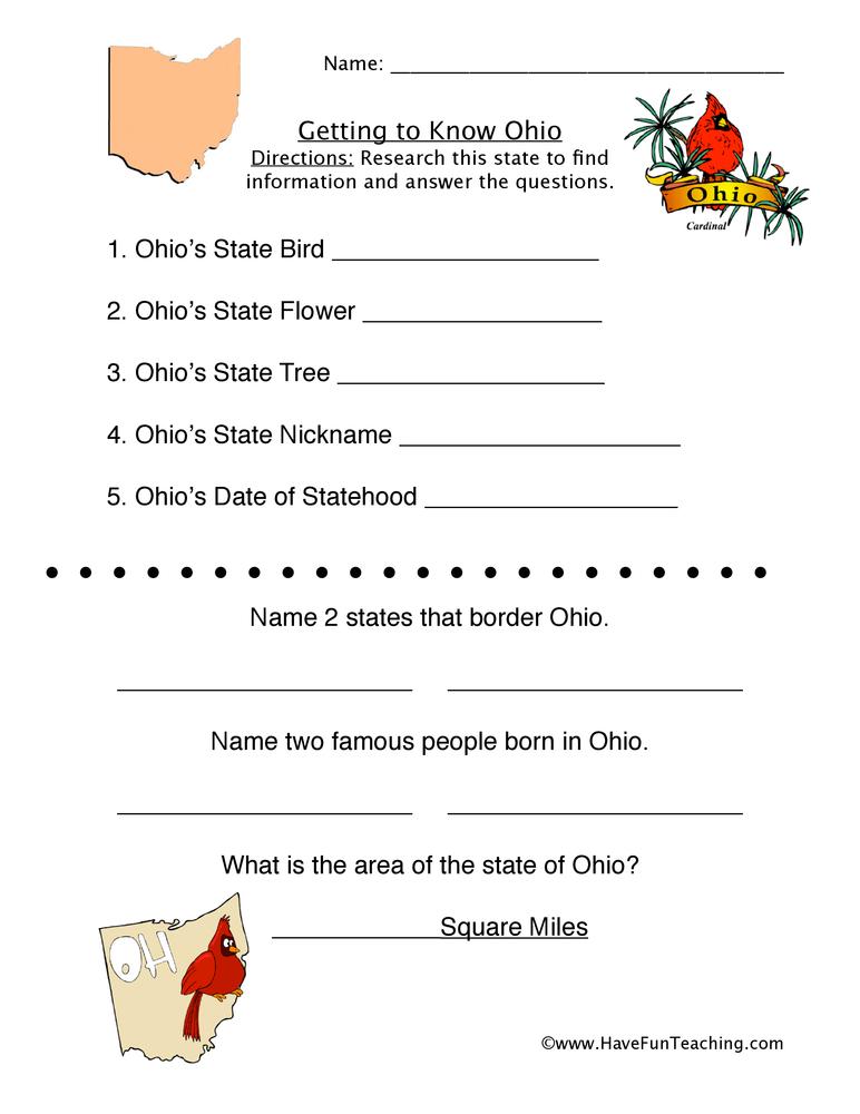 Ohio Worksheet