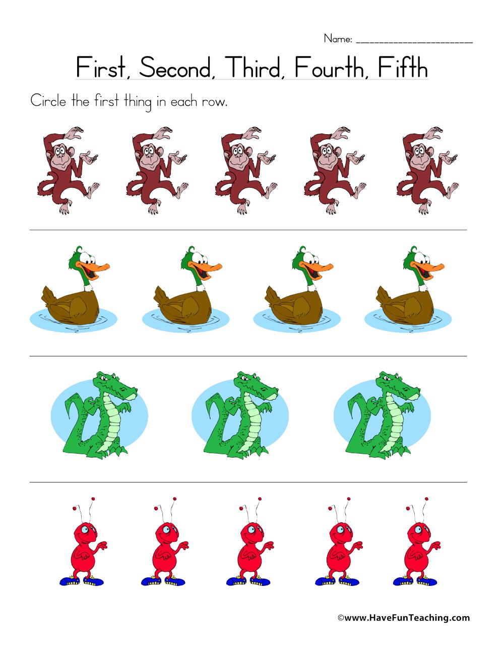 Ordinal Numbers Worksheet - Have Fun Teaching