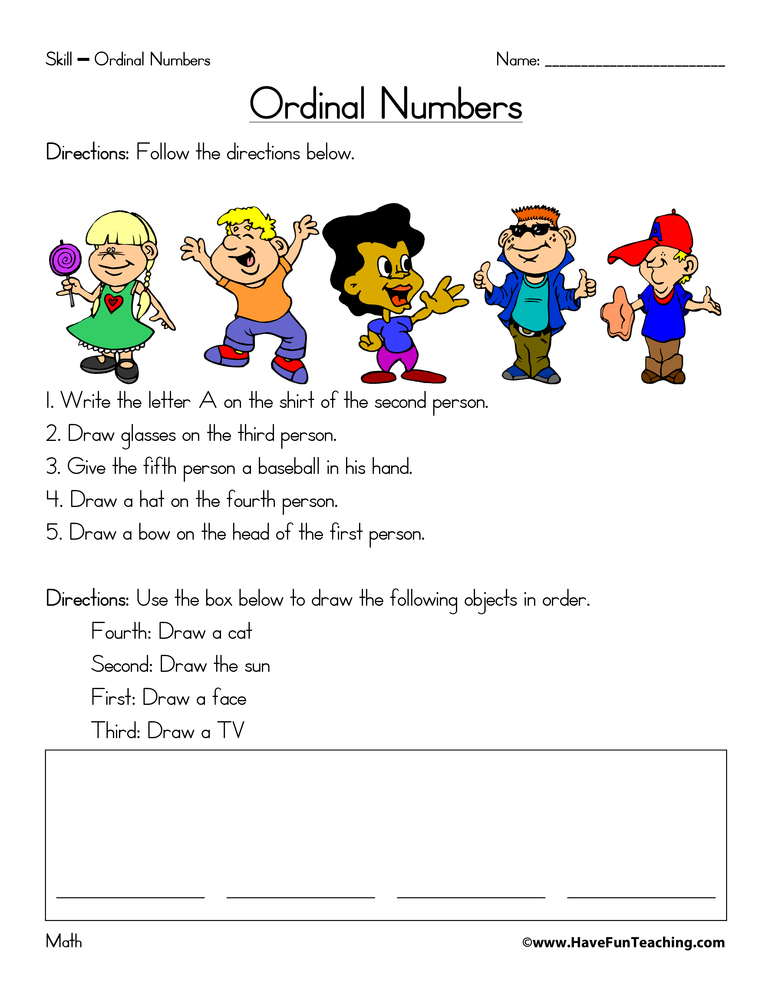 math worksheet : ordinal numbers worksheets  page 2 of 2  have fun teaching : Ordinal Numbers Worksheet Kindergarten