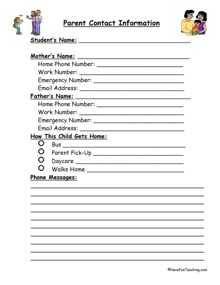Parent Contact Information Form | Have Fun Teaching