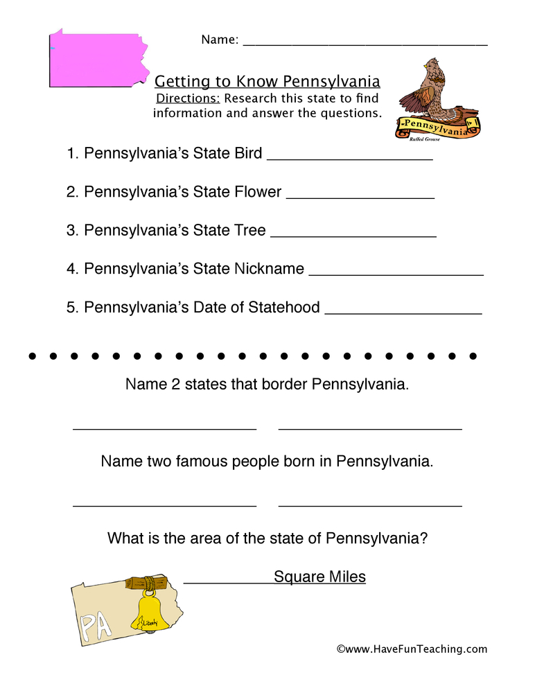 Worksheets For Pennsylvania : Pennsylvania worksheets have fun teaching