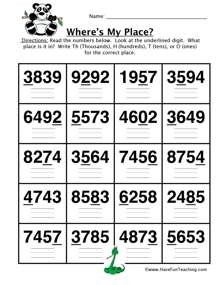 place value worksheet thousands hundreds tens ones have fun teaching. Black Bedroom Furniture Sets. Home Design Ideas