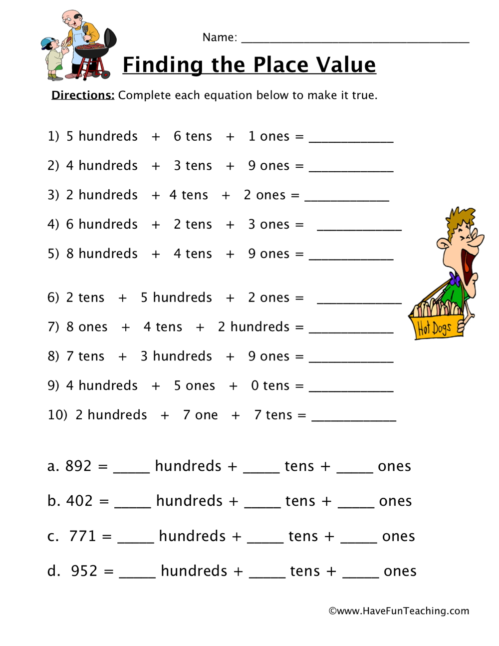 place value worksheet hundreds tens ones have fun teaching. Black Bedroom Furniture Sets. Home Design Ideas