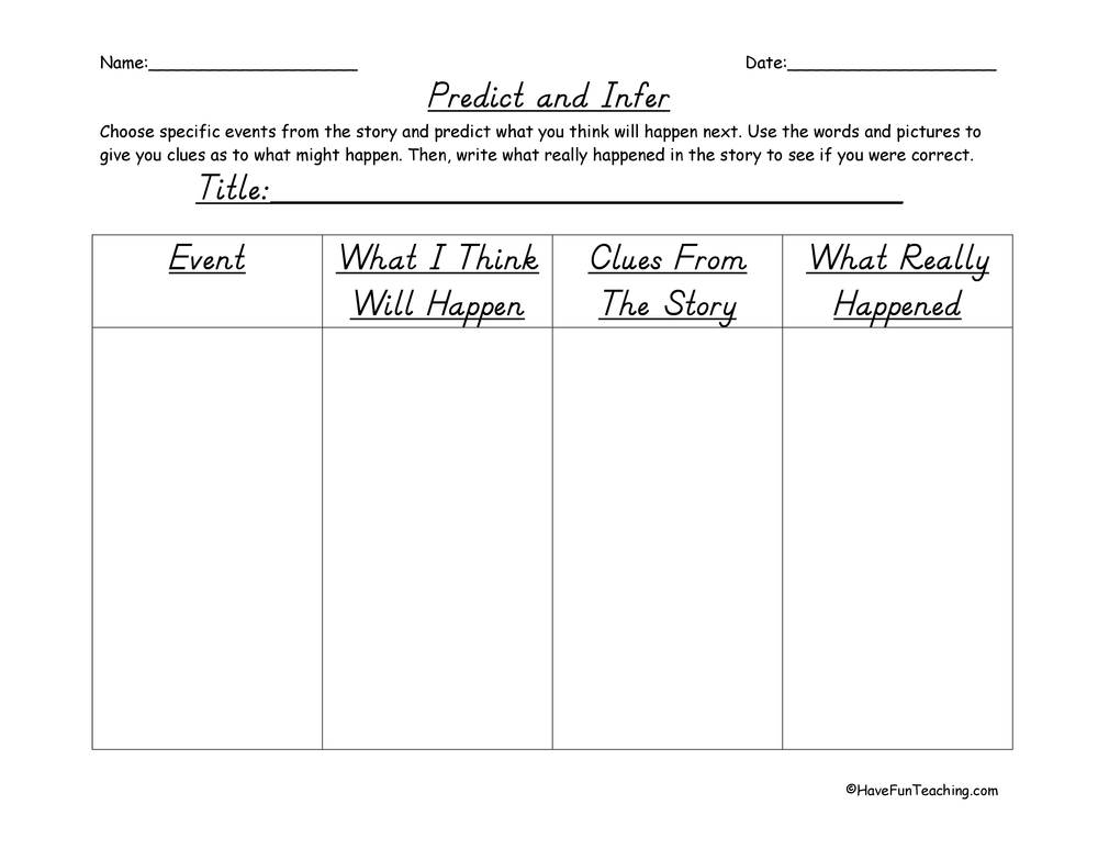 Worksheets Making Predictions Worksheets 3rd Grade predictions worksheets have fun teaching predict and infer graphic organizer