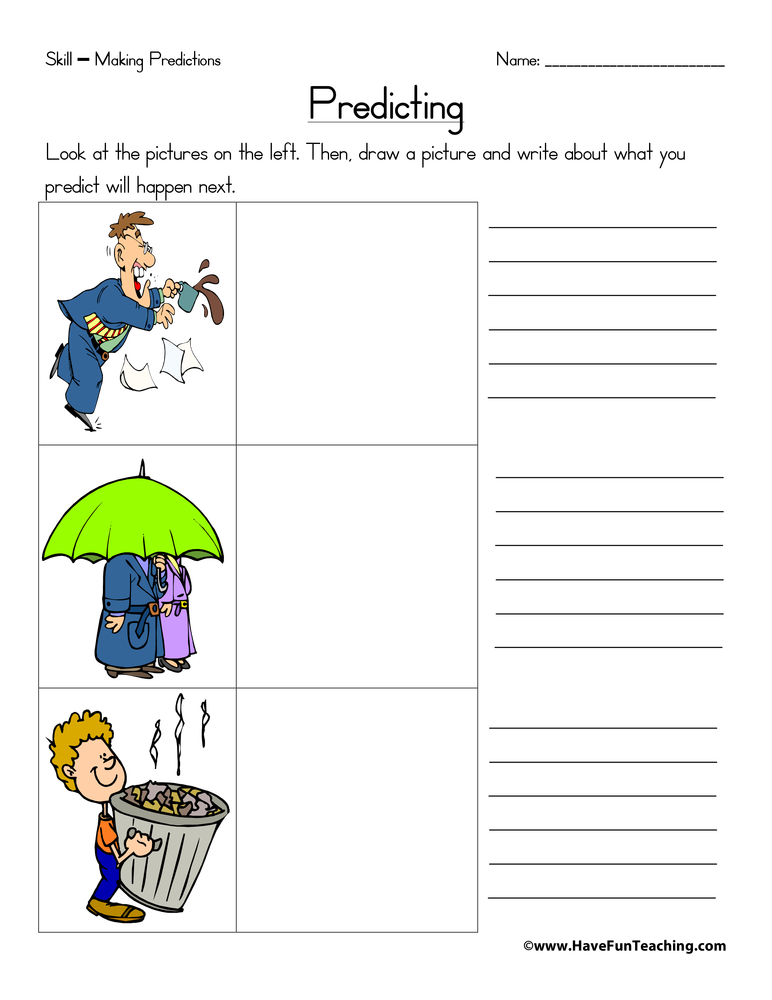 Predicting Worksheet | Have Fun Teaching