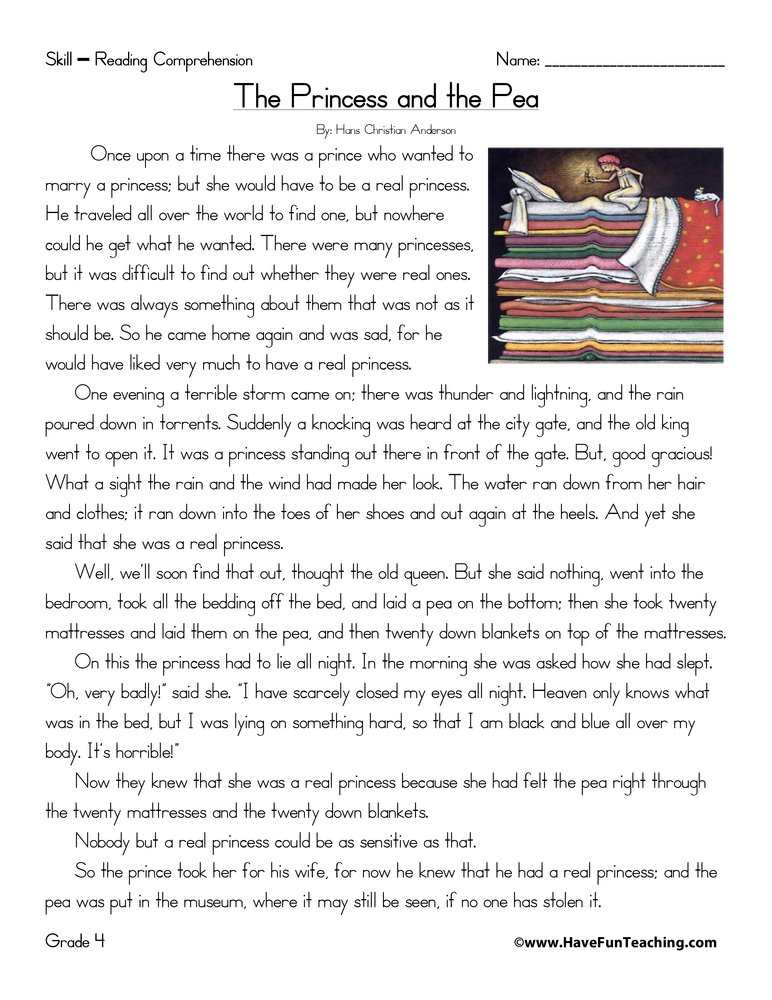 The Princess and the Pea - Reading Comprehension Worksheet